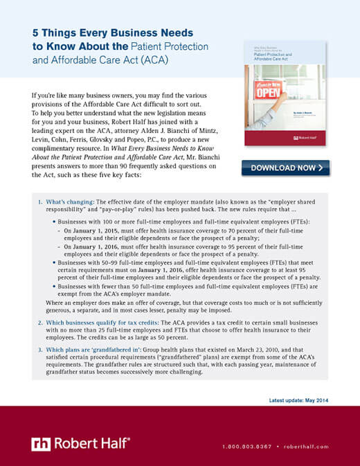 An excerpt from the guide What Every Business Needs to Know About the Patient Protection and The Affordable Care Act