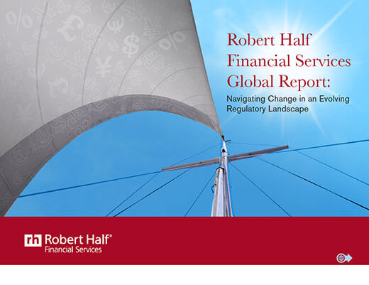 The cover of Robert Half Financial Services Global Report: Navigating Change in an Evolving Regulatory Landscape