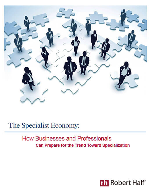 A small image of the cover of the Robert Half white paper titled, The Specialist Economy: How businesses and professionals can prepare for the Trend Toward Specialization