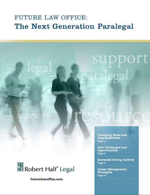 The cover of the Future Law Office: The Next Generation Paralegal from Robert Half