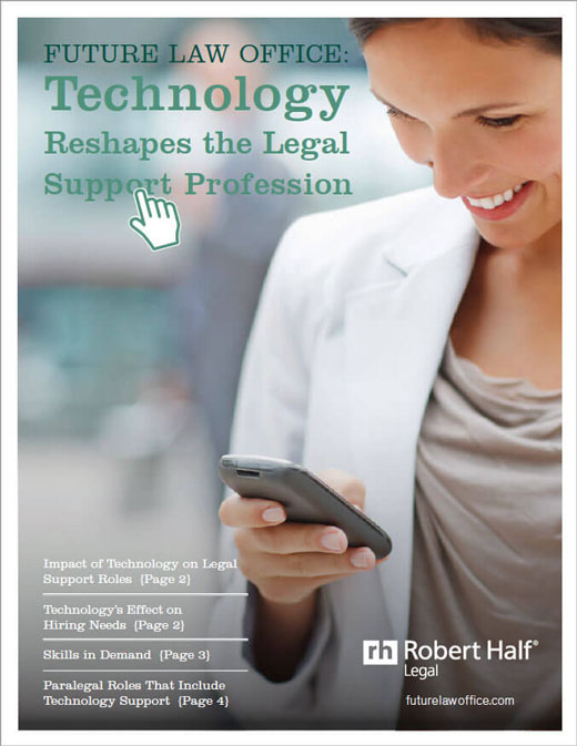 A thumbnail of the cover of the report, Technology Reshapes the Legal Support Profession