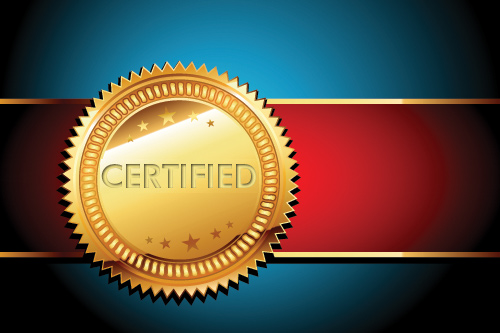 A gold seal that says: Certified