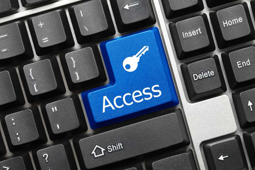 A keyboard with a blue key that has a key icon and the word: Access