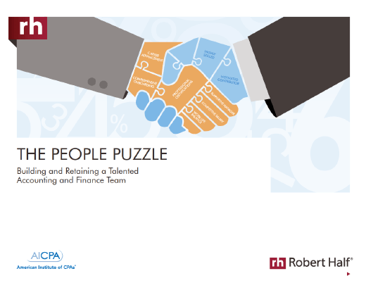 The cover of The People Puzzle: Building and Retaining a Talented Accounting and Finance Team from Robert Half