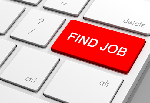 """A computer keyboard has a red key that reads """"Find job"""""""