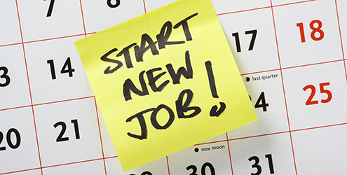 "A note on a calendar reads ""Start New Job!"""