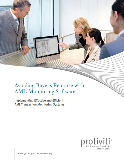 A thumbnail of the cover of the Robert Half report, Avoiding Buyer's Remorse with AML Software Monitoring