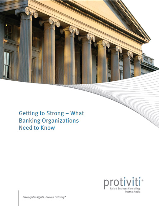 A thumbnail of the cover of the Robert Half report, Getting to Strong - What Banking Organizations Need to Know