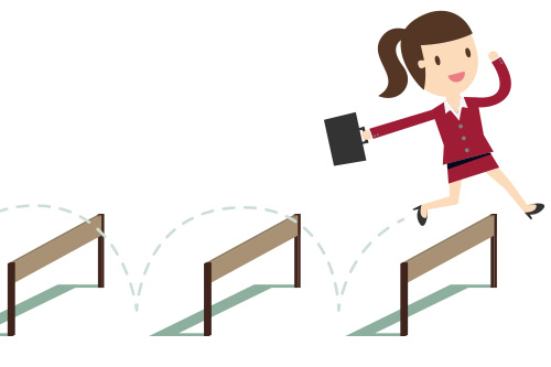 A graphic of an OfficeTeam administrative professional jumping over hurdles