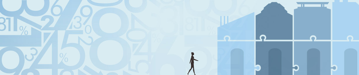 An illustration of a figure walking toward a group of interlocking buildings with percentage symbols in the background