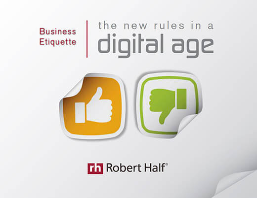 The cover of Robert Half's guide Business Etiquette: The New Rules in a Digital Age