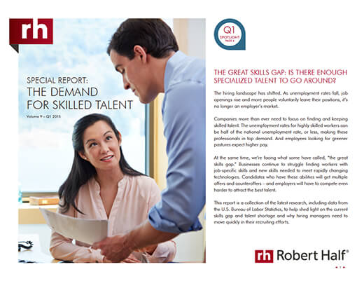 The cover of Special Report: The Demand for Skilled Talent from Robert Half