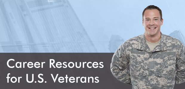 "A veteran smiles for the camera and the words ""Career Resources for U.S. Veterans"""