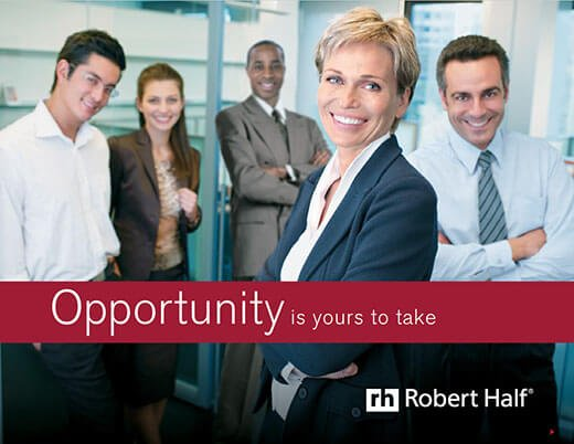 "A promo box with an image from a PDF download featuring a group of smiling people and the words ""Opportunity is yours to take"", that reads ""Learn more about working for Robert Half. Download PDF"""