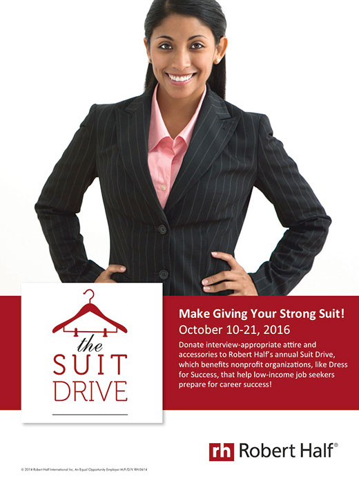An advertisement for The Suit Drive, a charitable effort by Robert Half