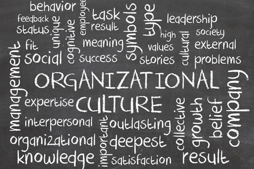 "The word's ""Organizational Culture"" are surrounded by other related words"