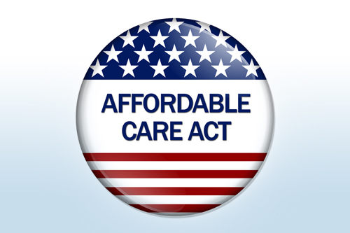 "A campaign button that reads ""Affordable Care Act"""