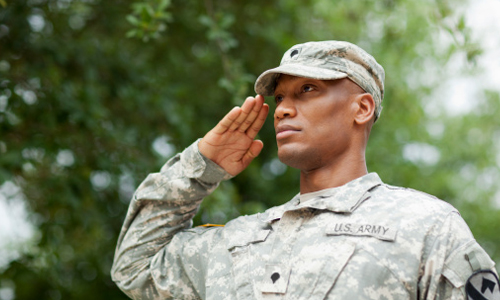 An Army soldier salutes