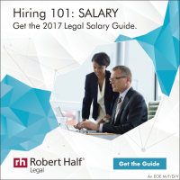 "A promo box that shows a legal professional at work and reads, ""Get the 2017 Salary Guide. Get the Guide for the legal field"""