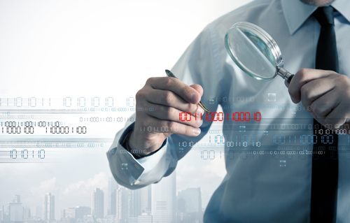 A partial image of a data security specialist examining holographic data under a magnifying glass