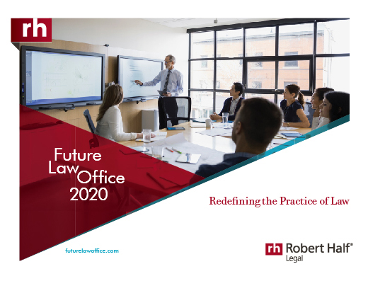 The cover of the Future Law Office 2020: Redefining the Practice of Law from Robert Half