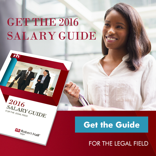 "A promo box that shows a legal professional at work and reads, ""Get the 2016 Salary Guide. Get the Guide for the legal field"""