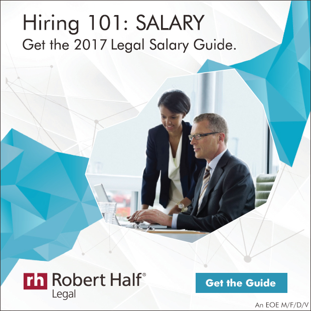 Get the 2016 Salary Guide for the legal field with woman smiling