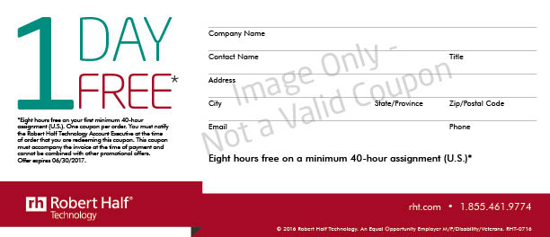 "A ""One day Free"" coupon from Robert Half Technology"
