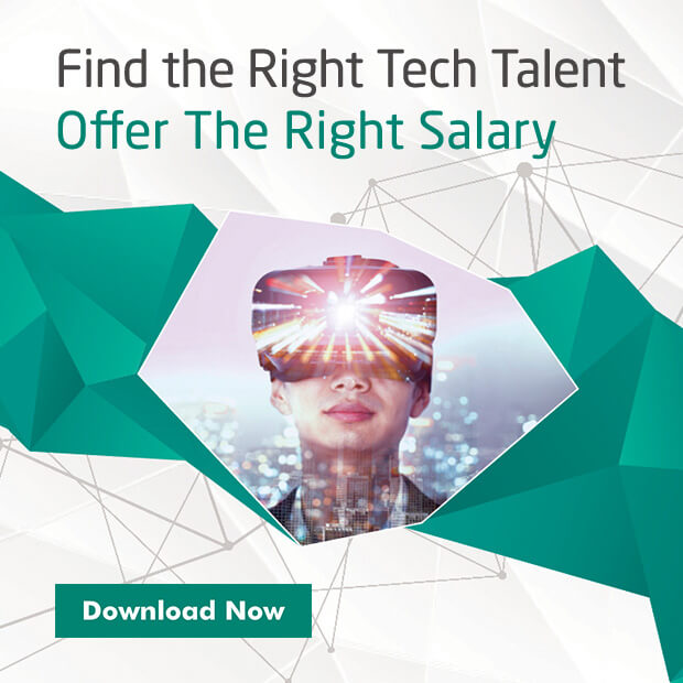 "A promo box that reads ""Find the right tech talent offer the right salary. Download now"", with a woman wearing a VR goggles"