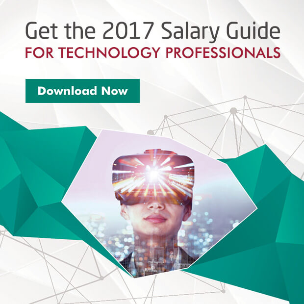 "A promo box that reads ""Get the 2017 Salary Guide for technology professionals. Download now"", with a woman wearing a VR goggles"