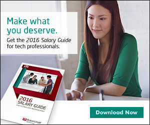 "A promo box that reads ""Make What You Deserve. Get the 2016 Salary Guide for tech professionals. Download now"", with a woman on a laptop and the cover of the 2016 Salary Guide for technology professionals"