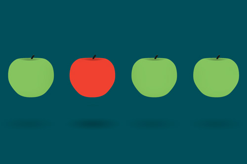 A graphic of three green apples and one red apple