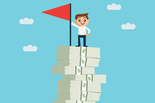 A job candidate plants his flag on top of a stack of cash