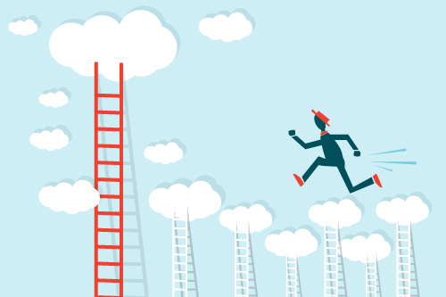 A creative manager runs through the clouds to get to the highest ladder