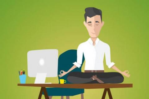 Illustration of a creative doing meditation to deal with stress at work