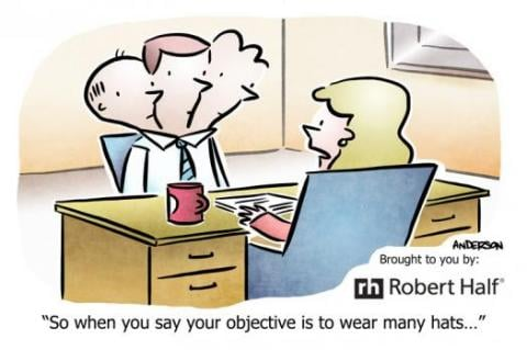 cartoon depicting an employer reading a bad resume objective statement - Objective Statement On A Resume