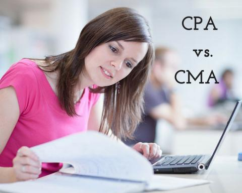 Women studying, with words CPA vs. CMA