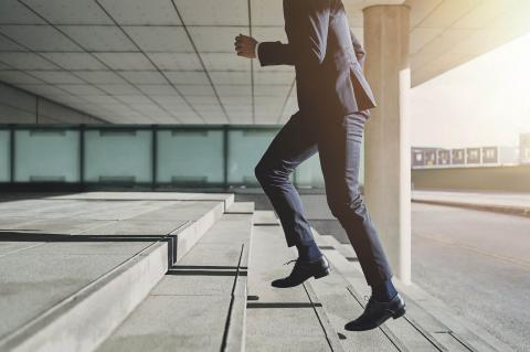 Running up steps to first job in accounting
