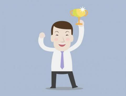 Illustration of an employee smiling and holding up a trophy