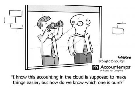 Cartoon of man with binoculars looking for cloud financial solution
