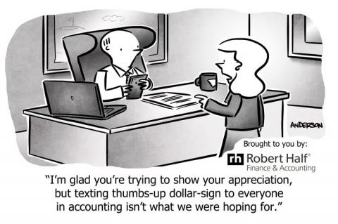 Cartoon about a clueless boss on International Accounting Day