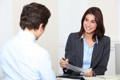 Candidate answering interview questions