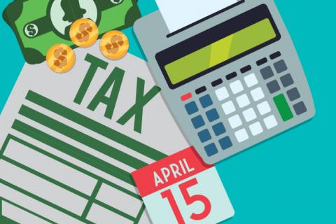 Tax time illustrations: calculator, calendar page, money