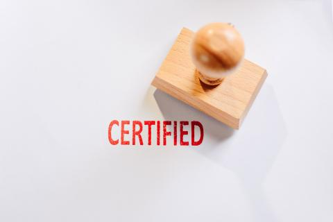 "Stamp next to the word ""certified."""