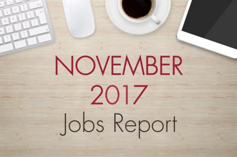 "An image of a desk with text that reads, ""November 2017 Jobs Report"""