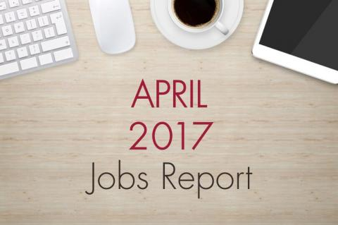 "An image of a desk with text that reads, ""March 2017 Jobs Report"""
