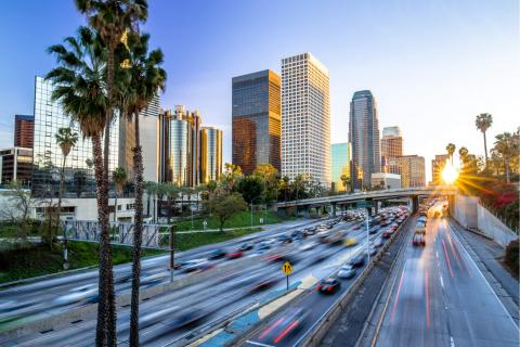 View of Los Angeles freeway next to downtown.