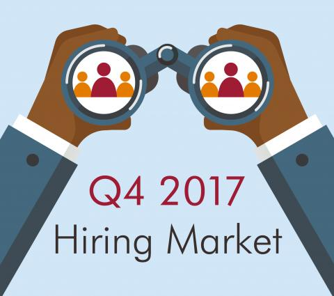 Hands holding binoculars and words Q4 2017 Hiring Market