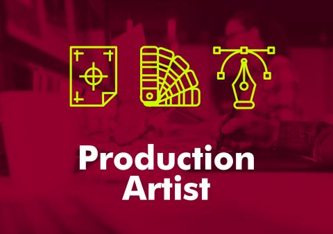 "The words ""production artist"" against a red background."