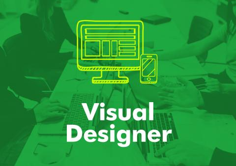 "The words ""visual designer"" under an illustration of a computer and smartphone."